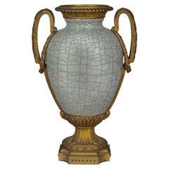Bronze Mounted Chinese Porcelain Crackled Celadon Two-Handled Vase, Circa 1860