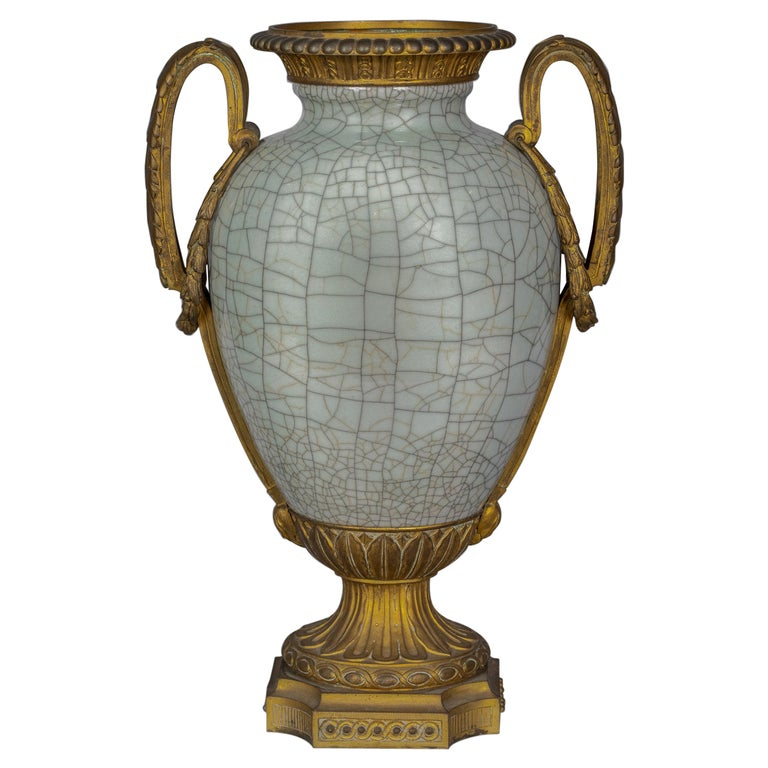 Bronze Mounted Chinese Porcelain Crackled Celadon Two-Handled Vase, Circa 1860 For Sale