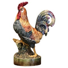 19th Century French Painted Barbotine Faience Rooster Vase Attributed to Massier