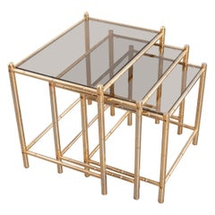French Vintage Brass Nesting Tables with Tinted Glass Tops