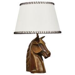 Bronze Equestrian Lamp by Reynolds Jones