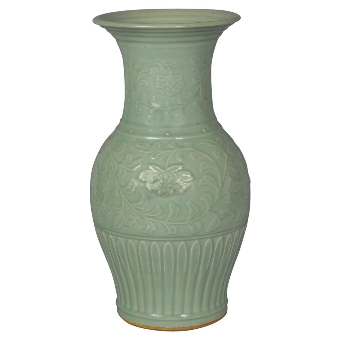 Large Chinese Porcelain Celadon Vase, Circa 1860