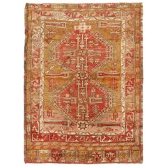 Antique Oushak Traditional Red and Gold Wool Rug