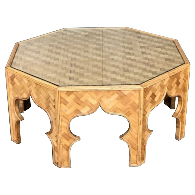 Mid Century Stick Rattan & Bamboo Coffee / Cocktail Table, Italian, 1970s For Sale