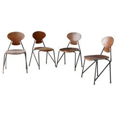 Steen Eiler Rasmussen, Side Chairs from Rungsted Skole, Metal, Oak, Denmark 1954