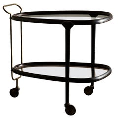 Elegant Wood and Glass Bar Cart Italy, 1950s