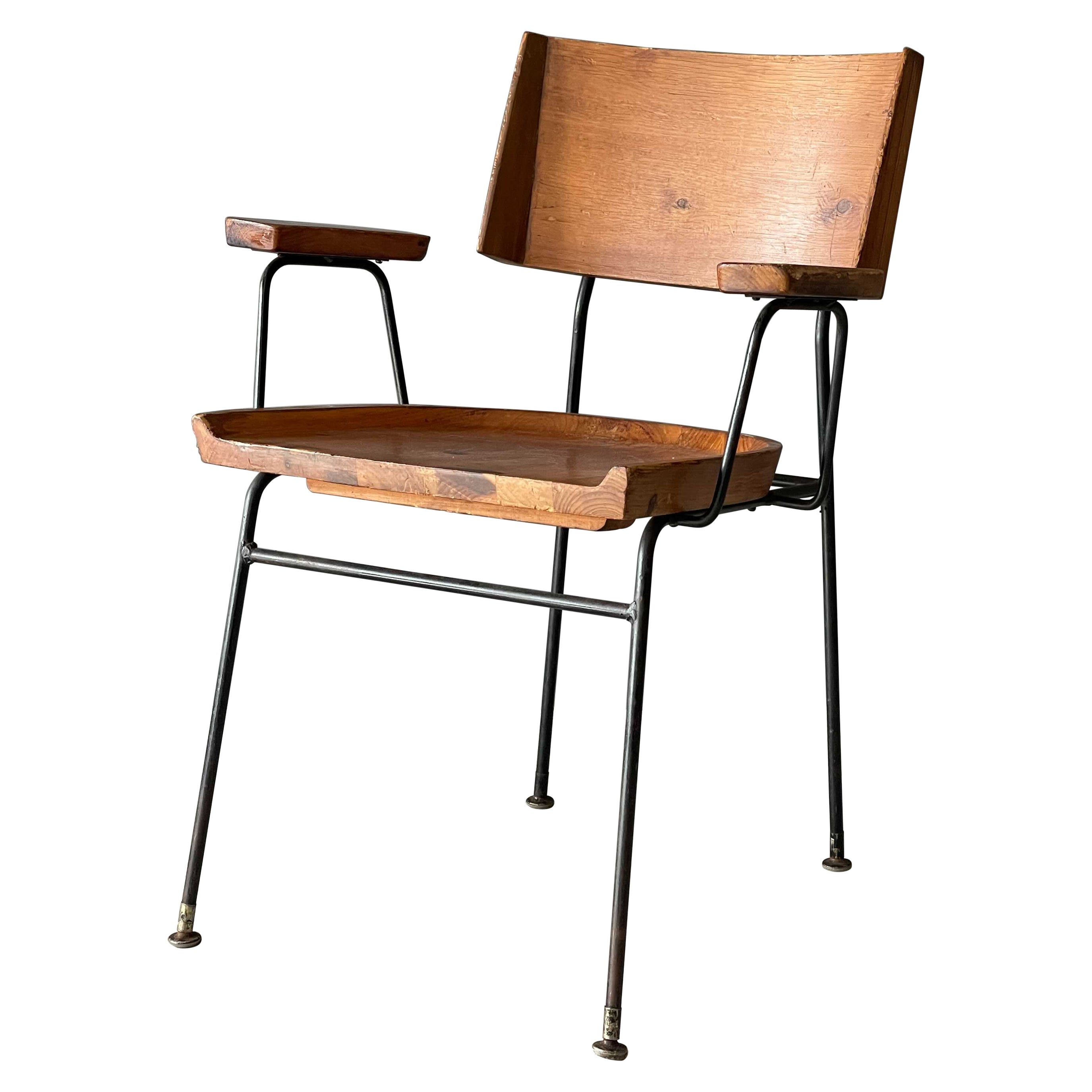 Arthur Umanoff, Arm Chair, Solid Pine, Lacquered Iron, America, 1950s