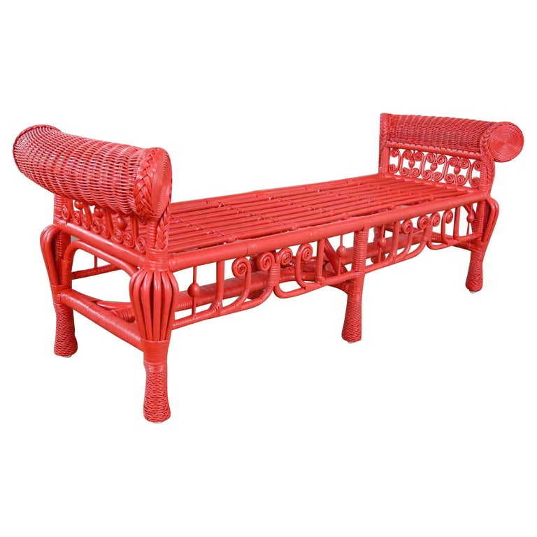 Hollywood Regency Boho Chic Poppy Red Painted Gondola Style Wicker Bench Table For Sale