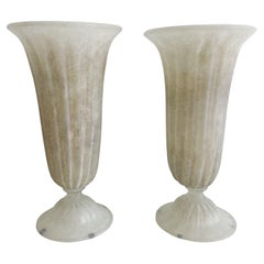Pair Murano Scavo Vases Fluted Neoclassical Modern 1960's Tall Vases