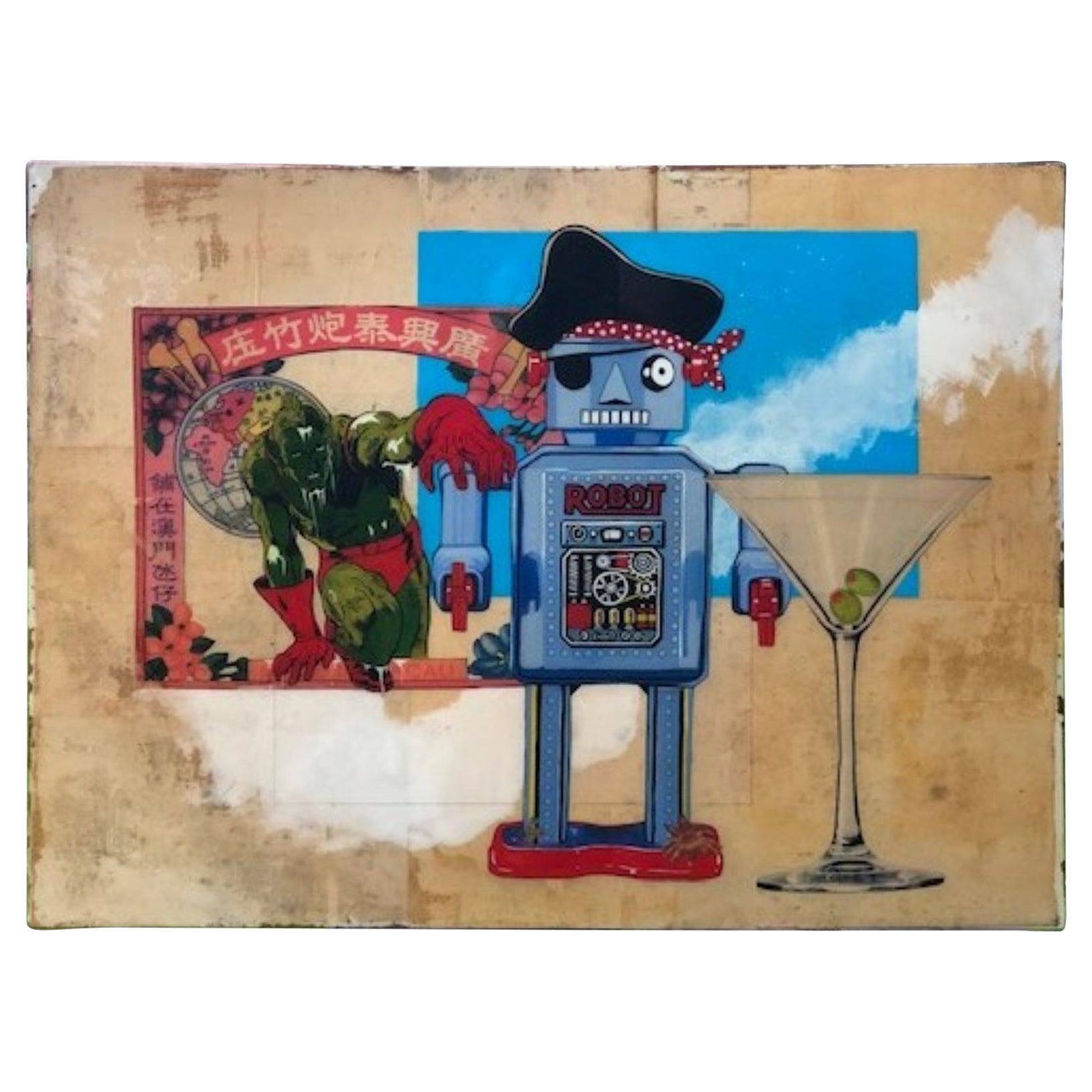 Original Artwork by Michael Mew 'Making New Friends', Mixed Media 2008