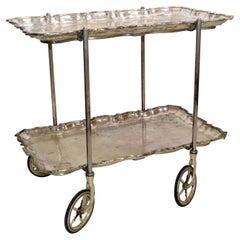 Carlo Mozzoni Italian Silvered 2-Tier Tray Bar Cart Neoclassical Original Wheels