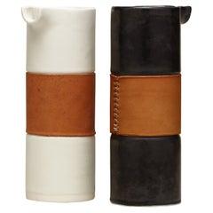 Handcrafted Modern Porcelain Pitcher Handstitch Leather Wrap
