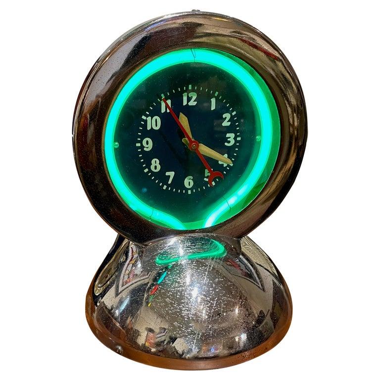 Glo Dial Neon Chrome Desk Clock with Original Green Neon For Sale