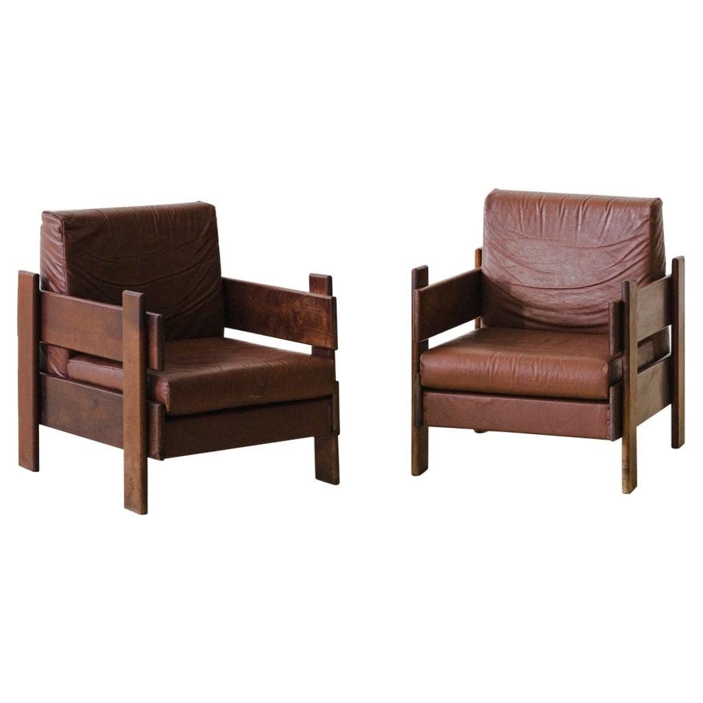 Brazilian Midcentury Design, Solid Walnut Armchairs, 1960s