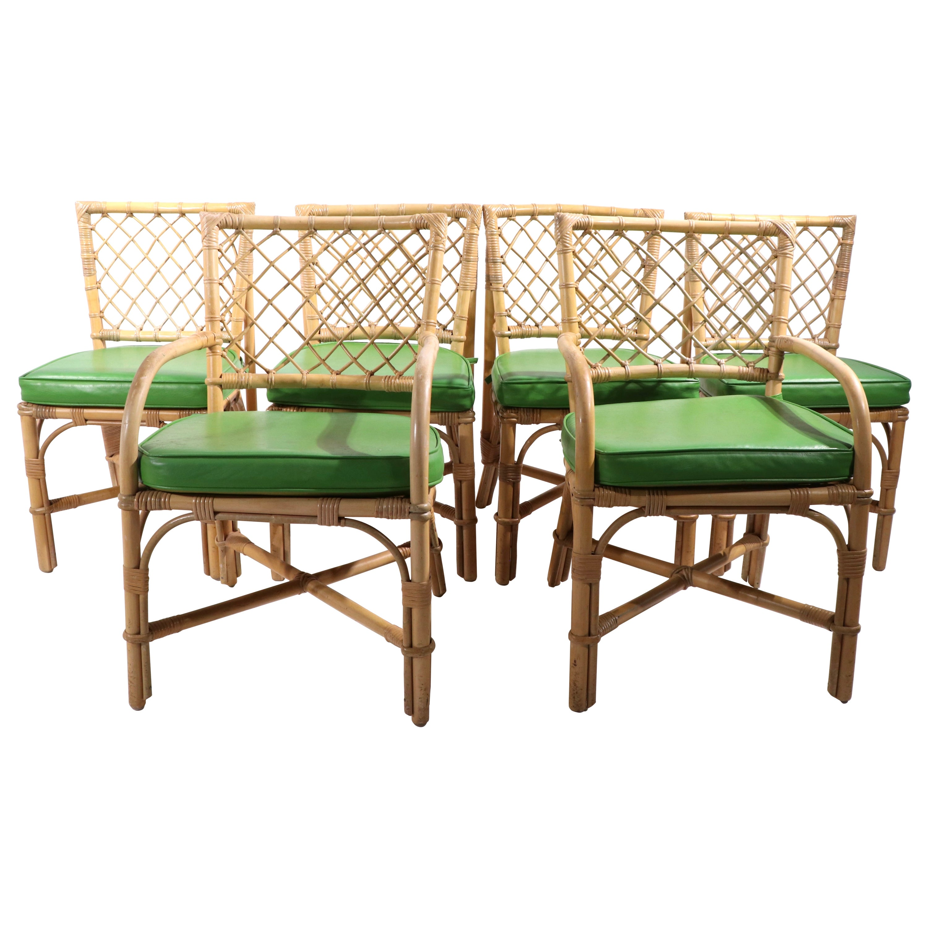 Set of 6 Bamboo Dining Chairs Att. to McGuire
