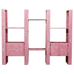 Pink Cerused Oak Modular Bookcase Room Divider by Lou Hodges, 1970s