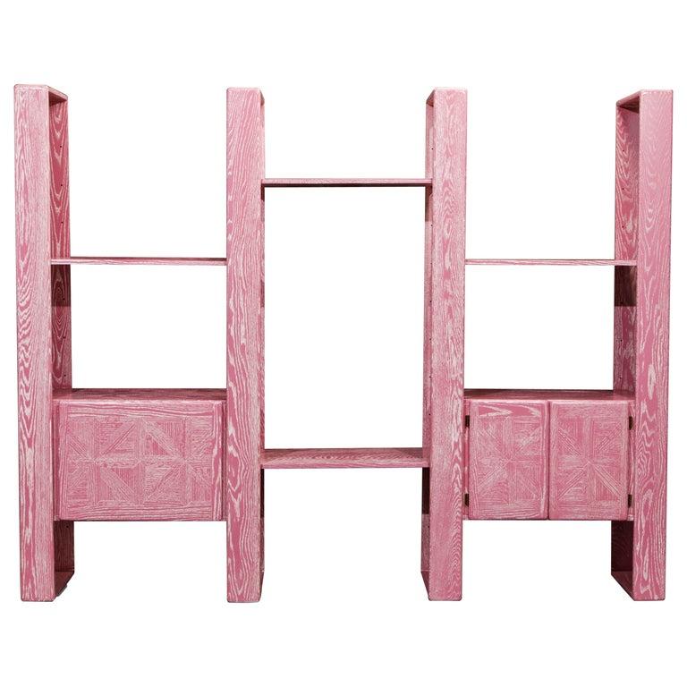 Pink Cerused Oak Modular Bookcase Room Divider by Lou Hodges, 1970s  For Sale