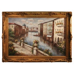 Monumental Italian Oil on Canvas Painting of Venice by Petrini, 20th C