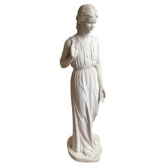 Life Size Bonded or Cold Cast Marble Garden Sculpture of a Young Girl