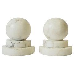 Italian Marble Art Deco Modern Bookends, Pair