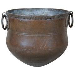Antique 19th Century Copper Vessel w/ Iron Handles Water Pot Kettle Cauldron