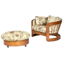 Curved Slat Spindle Back Rustic Modern Solid Oak Tub Chair & Ottoman by Howard