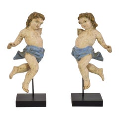 Italian 19th Century Baroque Style Carved Pair of Angels/ Putti