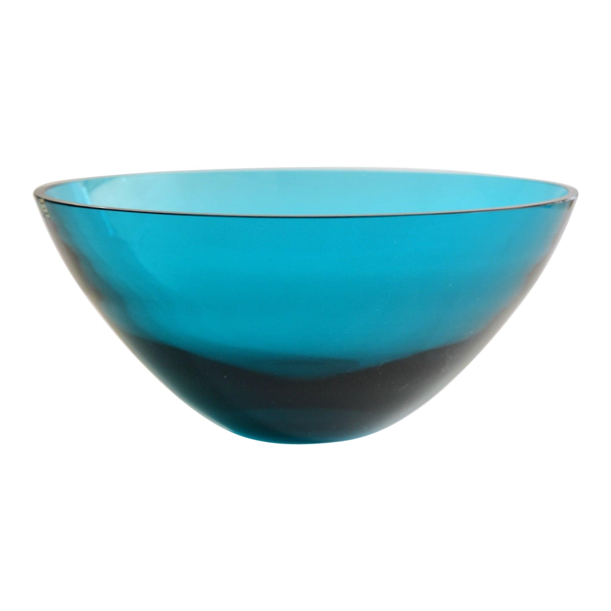 Large Gunnar Ander Modern Art Glass Bowl for Lindshammar Made in Sweden