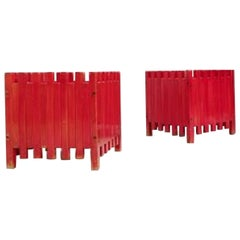 Mid-Century Red Planters by Ettore Sottsass for Poltronova, Italy 1961