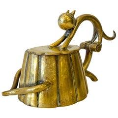 Small Art Deco Brass Cat Box Karl Hagenauer, Brass, Austria