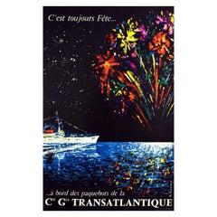 Original Vintage Cruise Travel Poster Toujours Fete CGT Ocean Liner Fireworks