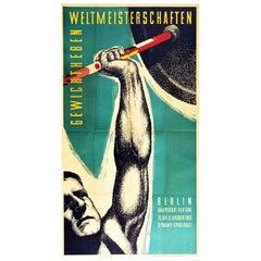 Original Vintage Sport Poster Weightlifting Championships Berlin Barbell Flags