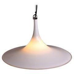 White Murano Glass Pendant Lamp Vintage Retro