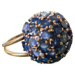 """20th Century """"Boule"""" Ring in Yellow Gold Adorned with Sapphires and Brilliants"""