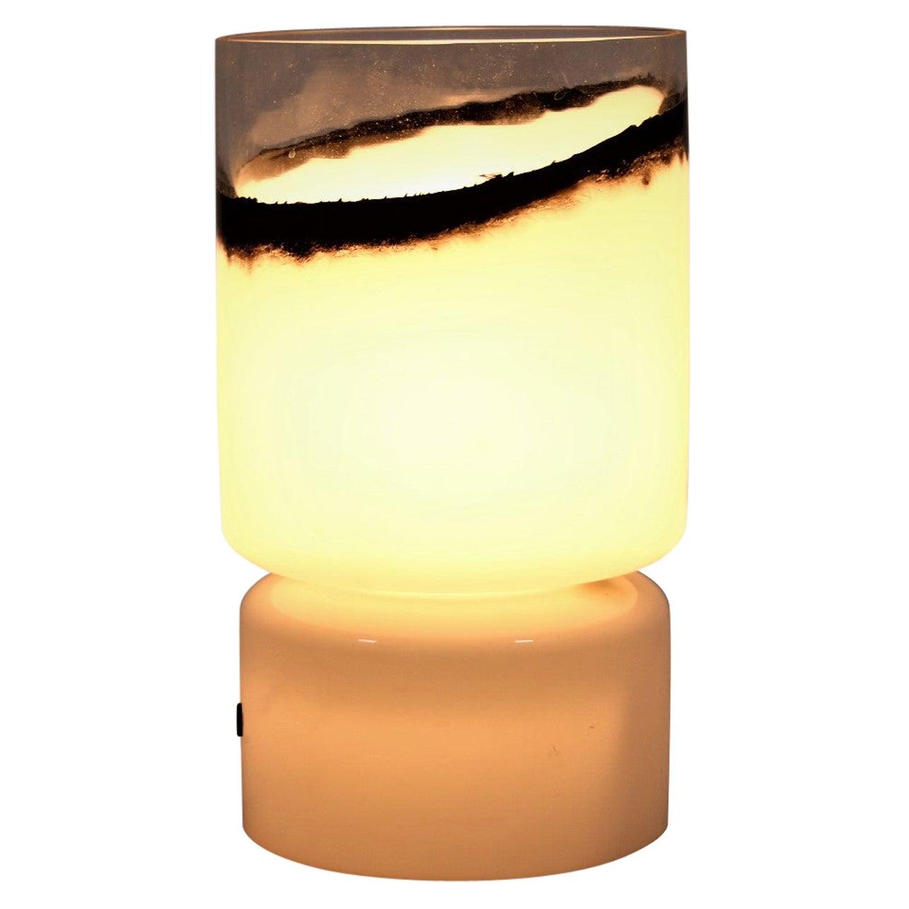 Murano Glass Table Lamp 1960's White Black