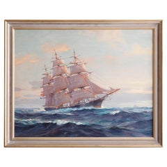 """Maritime Oil Painting of Tall Mast Ship """"Stag Hound"""" by Frank Vining Smith c1940"""