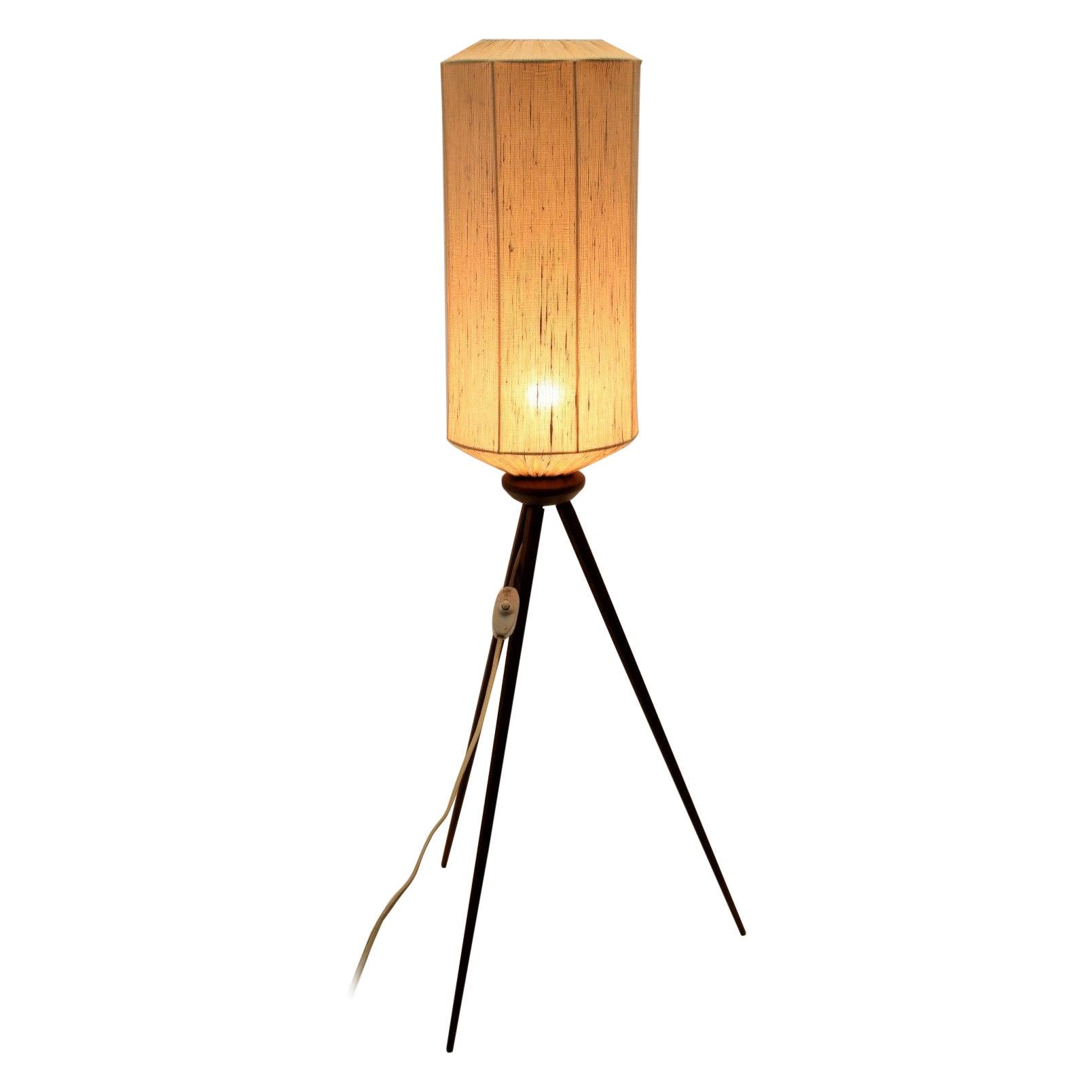 Tripod Floor Lamp Teak Legs and Textile Lampshade, 1950's
