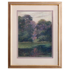Antique Arts & Crafts Impressionistic Oil on Canvas Landscape Painting, c1920