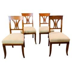19th Century Set of Biedermeier Chairs Cherrywood, 1820