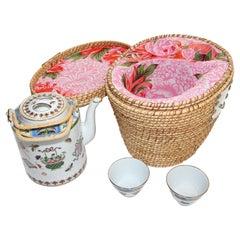 Vintage Chinese White Mun Shou Porcelain Tea Set in Basket
