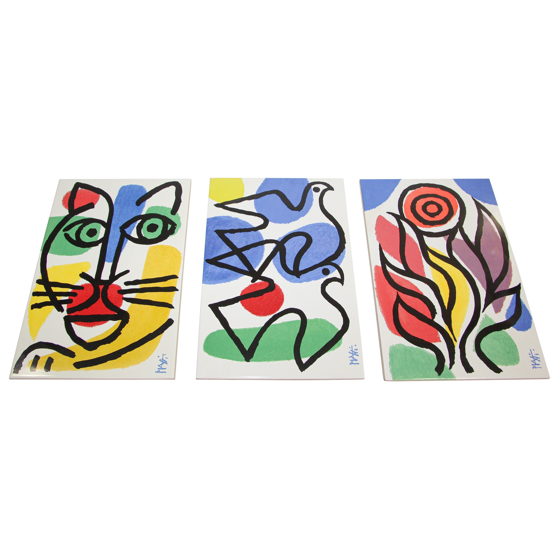 Celestino Piatti Ceramic Art Tiles in Picasso Style Post Modern