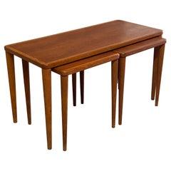 Swedish Modern Teak and Oak Nesting Tables