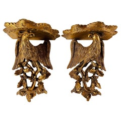 Antique Pair of Imperial Eagle Carved Wall Shelf Sconce Brackets