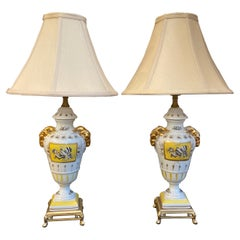 Pair of French Hand Painted Porcelain Lamps