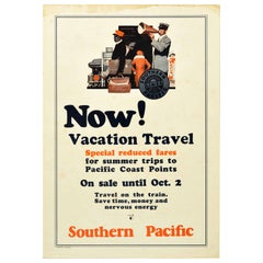 Original Vintage Poster Southern Pacific Lines Railway Travel Summer Vacation