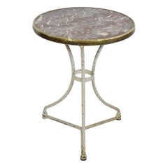 19th Century French Bistro Table with Red Marble Top