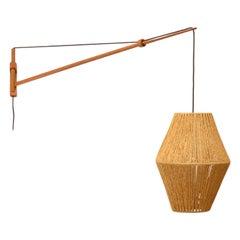Large Oak Wall Lamp by A. Bank Jensen & Kjeld Iversen for Louis Poulsen 50's