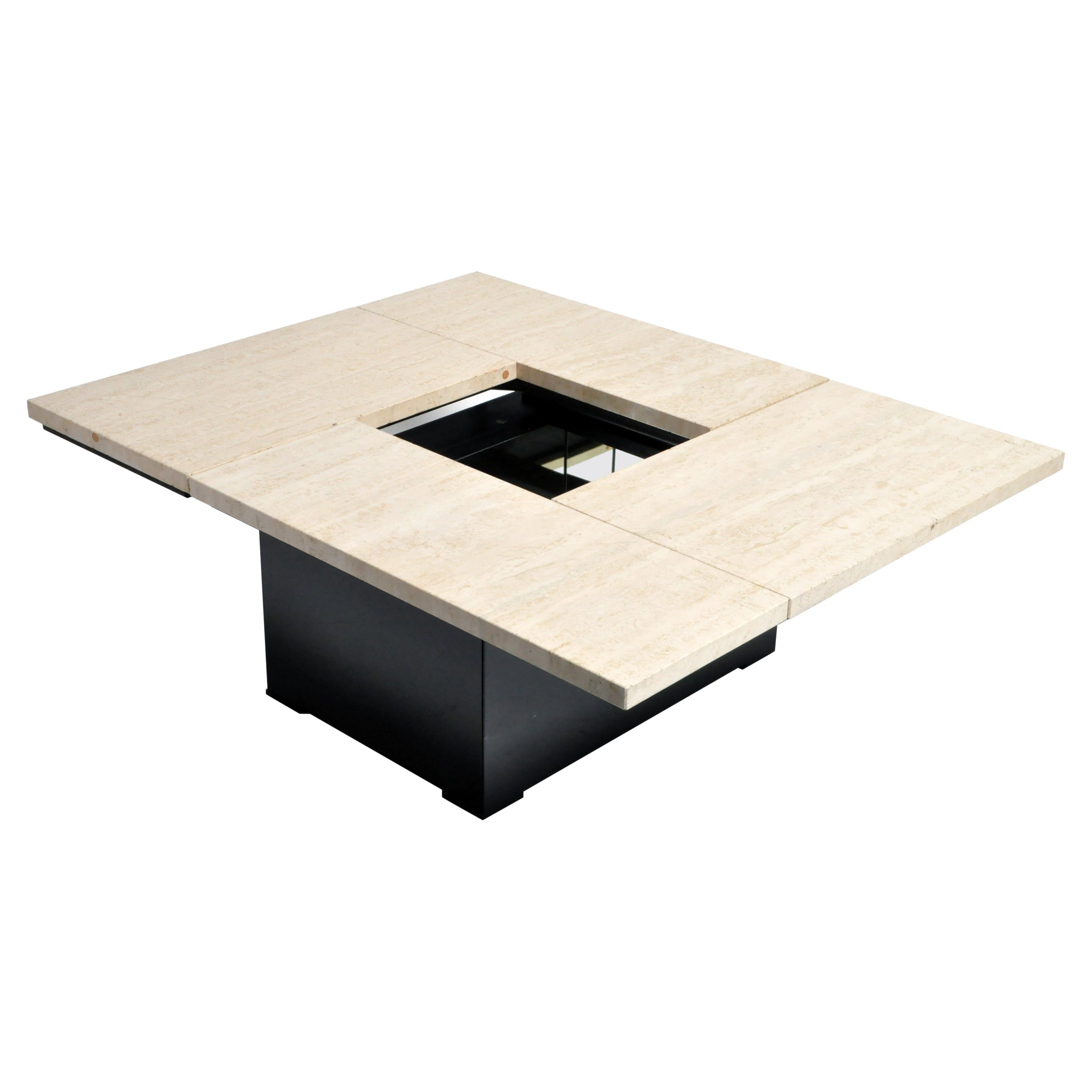 French Coffee Table with Movable Travertine Marble Top by Paul Michel