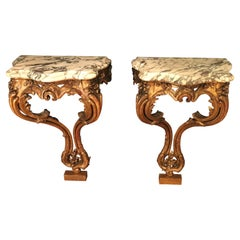 Pair of Louis XV Styled Giltwood Consoles with Marble Tops