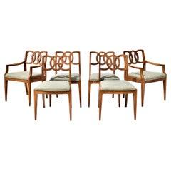 John Stuart Interlocking Backs Dining Chairs, Six Set